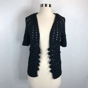 Anthropologie Knitted and Knotted Black Cardigan